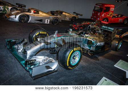 STUTTGART GERMANY- MARCH 19 2016: Formula One racing car Mercedes F1 W01 Hybrid 2014. Mercedes-Benz Museum.