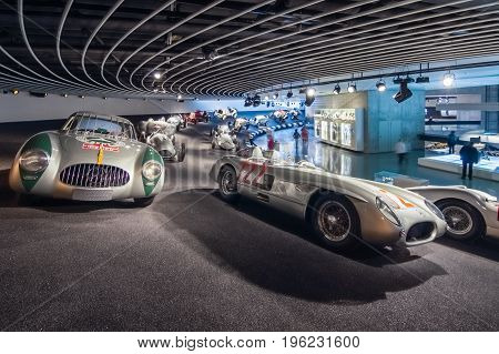 STUTTGART GERMANY- MARCH 19 2016: Gallery of sports and racing cars of different classes. Mercedes-Benz Museum.