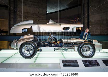STUTTGART GERMANY- MARCH 19 2016: Formula One racing car Mercedes-Benz W196R 25-litre 1955. Mercedes-Benz Museum.