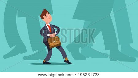 Concept mergers and acquisitions small business. Vector illustration small businessman makes hesitant steps among large companies