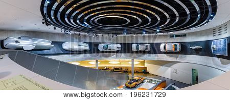 STUTTGART GERMANY- MARCH 19 2016: Panoramic view of the various projects concepts and sports cars of Mercedes-Benz. Mercedes-Benz Museum.
