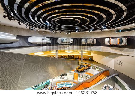 STUTTGART GERMANY- MARCH 19 2016: Various projects concepts and sports cars of Mercedes-Benz. Mercedes-Benz Museum.