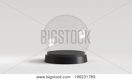 Empty snow glass ball with black tray on white background. 3D rendering.