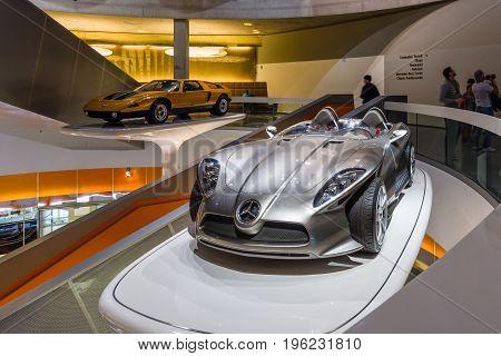 STUTTGART GERMANY- MARCH 19 2016: The concept car Mercedes-Benz F400 Carving 2001. Mercedes-Benz Museum.