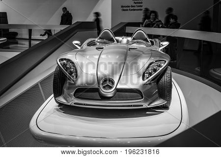 STUTTGART GERMANY- MARCH 19 2016: The concept car Mercedes-Benz F400 Carving 2001. Black and white. Mercedes-Benz Museum.