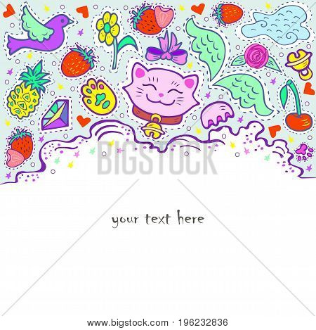 Pink smiling Maneki Neko is symbol of happiness, luck, success, love. Text copy frame template. It can be used for invitation, birthday, St. Valentine's Day, greetings, party, baby birth Vector.