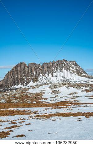 Cradle mountain the UNESCO heritage sites in Tasmania state of Australia during the winter season.