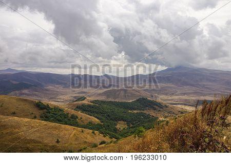 Panorama Mountains Near Jermuk Spa Resort City And Arpa River Canyon Form Ropeway Station. Armenia.