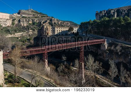 San Pablo Bridge And Parador De Cuenca. Saint Paul Monastery In The Outskirts Of Cuenca,  Spain