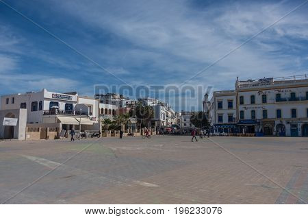 Essaouira, Morocco - May 6, 2017 : Moulay El Hassan Square In The Medina ( Old Town )