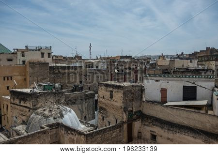View To Roof Of Medieval Fez Medina From Nejjarine Museum Of Wooden Arts & Crafts Terrace, Morocco