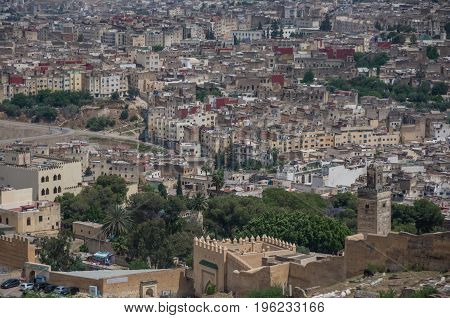 Panorama of the Fes (Fez) medina old town - one of the ancient Imperial cities in Morocco poster