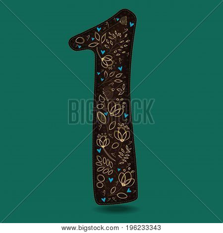 Number One with Royal Floral Decor. Dark brown numeral. Yellow flowers and plants with drown effect. Blue small hearts.