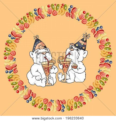Vector illustration of two cute bears are drinking a fruit cocktail from high glasses. Bear and fruit.