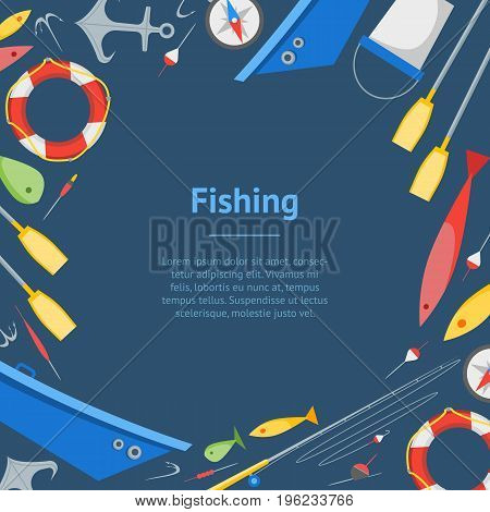 Cartoon Fishing Banner Card on a Blue Boat and Gear Set Flat Design Style. Vector illustration