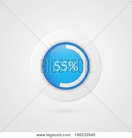55 percent pie chart. Percentage vector infographics. Circle diagram isolated symbol. Business illustration icon for marketing presentation project planning download report web design