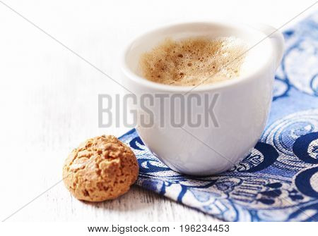 Cup of Latte Coffee with Cookies