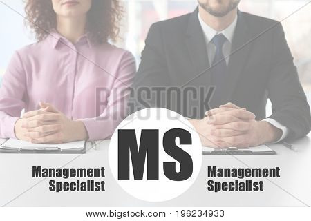 Concept of management specialist. People on business meeting in office, closeup