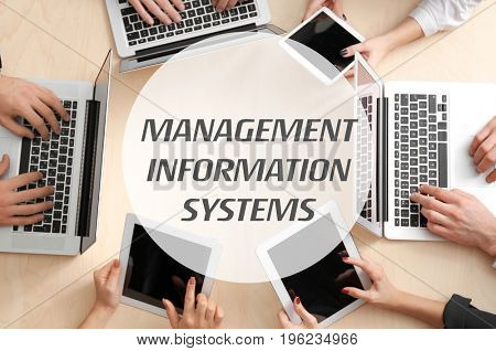 Concept of management information systems. People on business meeting in office