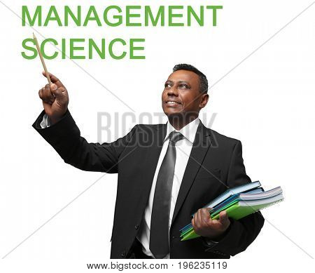 Concept of management science. Indian teacher on white background