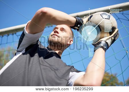 sport, technology and people concept - soccer player or goalkeeper with ball at football goal