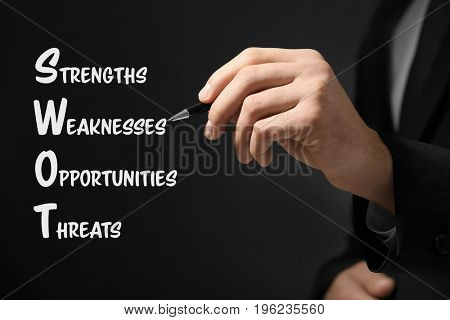 Management concept. Businessman working with virtual screen, closeup