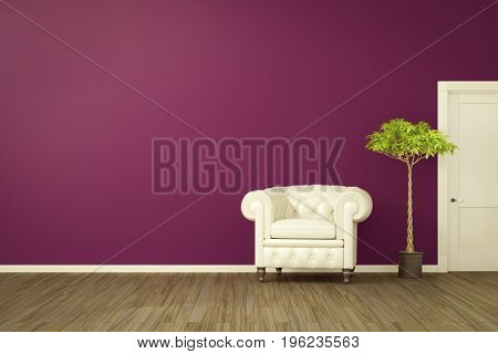 3d rendering of a purple room with a white armchair