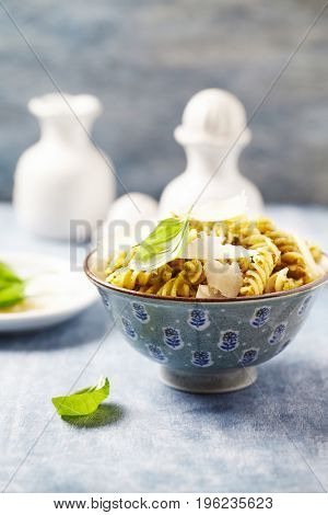 Fusilli pasta with green olive pesto