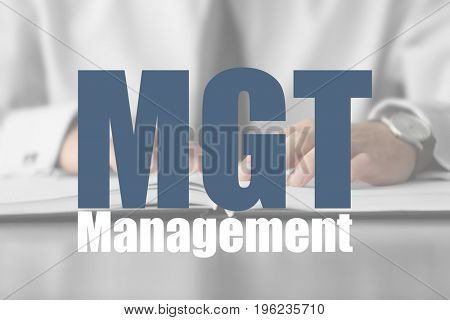 Management concept. Businessman at workplace in office, closeup