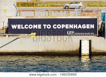 Copenhagen, Denmark-July 15, 2017:Closeup of the welcoming sign on the quayside at Copenhagen port