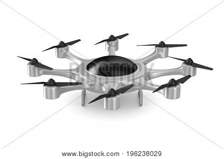 octocopter on white background. Isolated 3d illustration