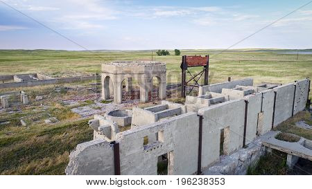 concrete ruins of one of five reduction plants and pump stations manufacturing potash during World War I near Antioch, Nebraska, aerial view