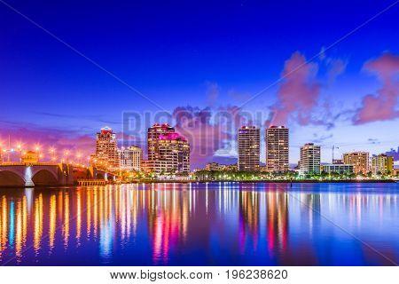 West Palm Beach, Florida, USA downtown cityscape.