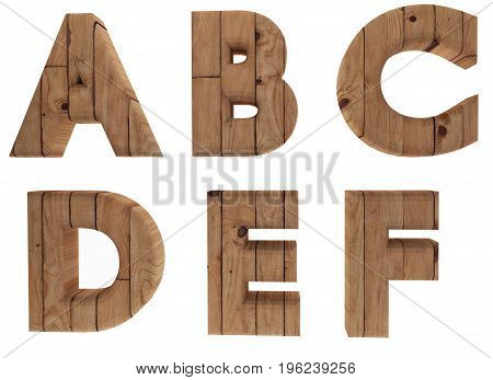 wooden alphabet letters english language A B C D E F in 3D render image