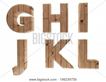 wooden alphabet letters english language G H I J K L in 3D render image