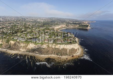 Aerial view of the Rancho Palos Verdes shoreline in Los Angeles County, California.