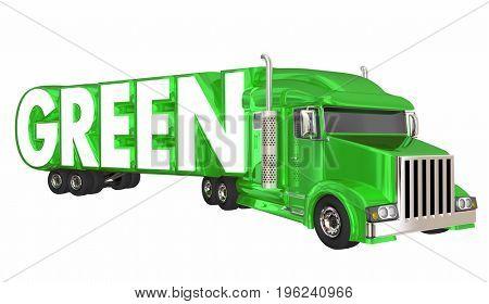 Green Trucking Transportation Logistics 3d Illustration