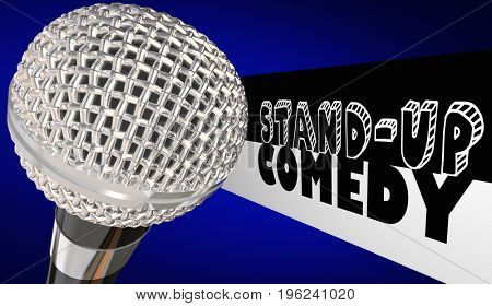Stand-Up Comedy Microphone Comedian Open Mic Performance 3d Illustration