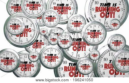 Time is Running Out Clocks Flying By Deadline Reminder 3d Illustration