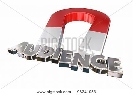 Magnet Attracting Audience Visitors Customers Word Letters 3d Illustration
