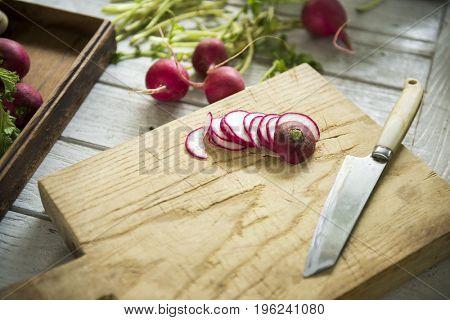 Chopped red turnips on a cutting board