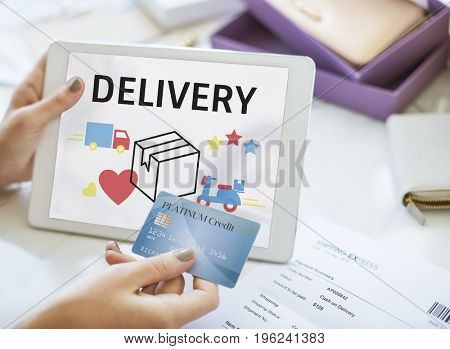 Illustration of transportation packages delivery