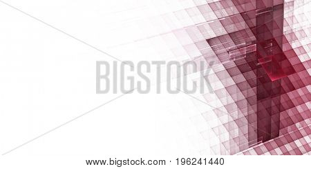 Abstract background. Fractal graphics series. Three-dimensional composition of textured grids. Wide format high resolution image. Red and white colors.