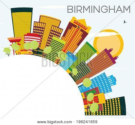 Birmingham Skyline with Color Buildings, Blue Sky and Copy Space. Business Travel and Tourism Concept. Image for Presentation Banner Placard and Web Site.