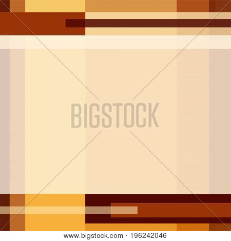 Geometric technology pattern with rectangles and strips. Modern minimalistic background in brown, orange, yellow and beige. Layout design with text place for covers, presentations, brochures, prospectuses. Vector EPS10