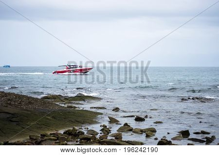 Koh Samed Rayong Thailand-July 12 2017:Red speed boat in Koh Samed Island Rayong Thailand