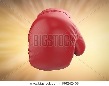 3d rendering punching red boxing glove on golden background