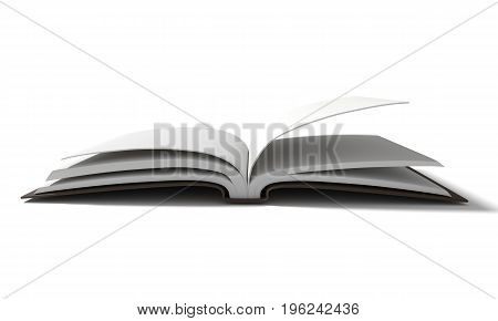 blank white book with brown hardcover on isolated white background in 3D rendering