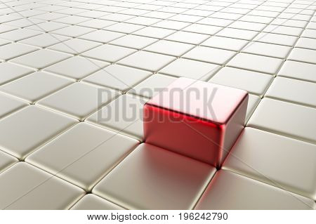 leadership concept with 3d rendering red cubic pop up