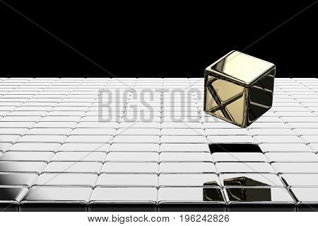 leadership concept with 3d rendering gold cubic pop up